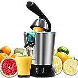 Cecotec Exprimidor naranjas Eléctrico Zitrus PowerAdjust 600 Black. 600W, Filtro Regulador de Pulpa, Filtro de Acero INOX, 2 Conos Desmontables de Diferente Tamaño, Apto para Lavavajillas