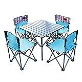 *HUXIQI *ROMX Mesa de Pícnic Plegable per a 4 Persones amb 4 tamborets, Joc de cadires de Mesa d'Alumini, portàtil i lleuger per a Exteriors, campaments, restaurants, Festes de Barbacoa