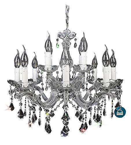 Kristall Hängelampe Lampenschirm Kronleuchter Deckenlampe Lüster Pendelleuchte Hängelampenschirm 8+4 Flammig Ø60cm gefertig aus SPECTRA CRYSTAL von SWAROVSKI Silber PGA Lights