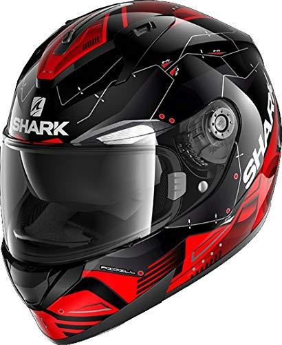 SHARK RIDILL MECCA Casco de Moto, Hombre, Negro Rojo Gris, Medium