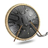 15 Note D-tone Steel Tongue Drum, 14 Inch Ethereal Drum Percussion Instrument with Drumsticks and Carry Bag, for Music Enlightenment Yoga Meditation