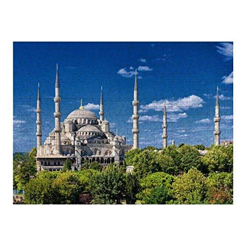 Rompecabezas de Papel de 1000 Piezas Mezquita Azul, Estambul, Turquía Rompecabezas de Juegos Divertidos Juguetes Regalos de cumpleaños (38 * 26 cm)