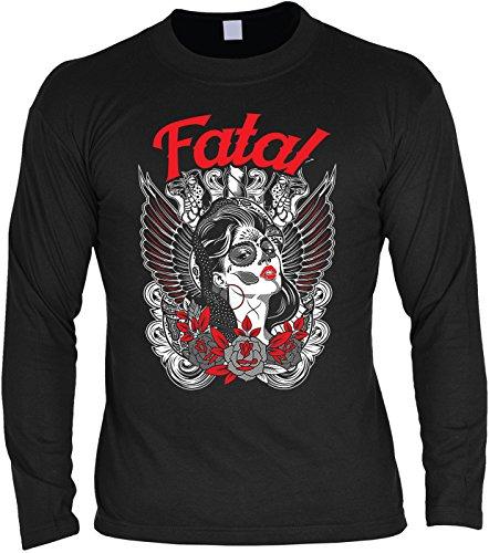 Goodman Design ® Herren Langarmshirt für Biker: Fatal Sugar Skull - Geschenkidee - Geburtstag - Motorrad - Bikerkleidung - schwarz