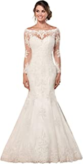 Sponsored Ad - SYYS Women's Beach Wedding Dresses for Bride Long Lace Applique Ball Gown Mermaid Bridal Gowns