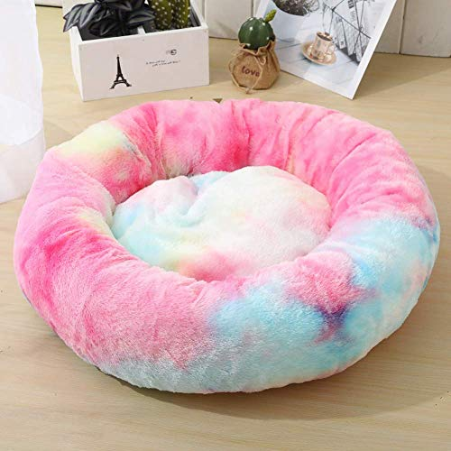 CYGJ Cálidas y cómodas Camas de Felpa, Redondas, pequeñas y Medianas para Perros y Camas para Gatos Rosa Colorido L