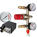 zinnor Air Compressor Pressure Switch Valve Manifold Regulator Gauges Air Compressor Parts Switch Control Valve 90-125PSI Horizontal Switch