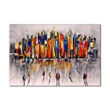 Cuadros Modernos Al Oleo,Creativo Colorido Paisaje Urbano Textura De Construcción Grandes Pinturas Al Óleo Arte Moderno Abstracto Arte Lienzo Pared Arte Pinturas Sala De Estar Dormitorio Decoraci