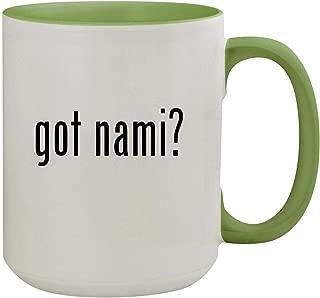 got nami? - 15oz Ceramic Inner & Handle Colored Coffee Mug, Light Green