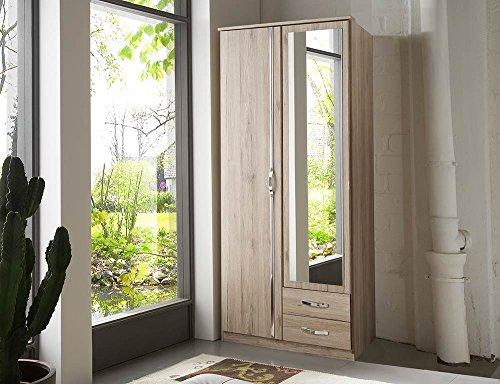 lifestyle4living Kleiderschrank mit Spiegel-Tür, Eiche, 90 cm | Drehtürenschrank mit 2 Türen, 2 Schubladen, 1 Kleiderstange, 1 Einlegeboden im modernen Stil