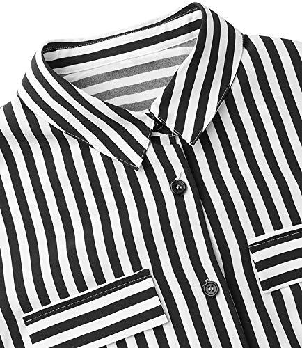 chuangminghangqi. Vestiti Donna Eleganti Maniche Lunghe Chiffon a Righe Camicia Stampa Maxi Abito Casual con Bottoni sul Davanti (Nero, XXL)