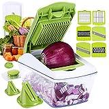 Fun Life Gemüseschneider Spiralschneider Gemüsehacker, Obstschneider, Kartoffelschneider, Zwiebelschneider, Food Dicer für Nudeln Zucchini Gurke Karotten Kürbis Zwiebel (Grün)