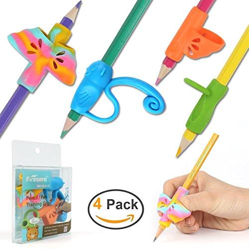 Firesara Advanced Pencil Grip Set, Aides à l'écriture ergonomique d'origine Pinces à crayons Écritures correcteur de posture 4 Poignées assorties de crayons pour Enfants adultes Droits spéciaux