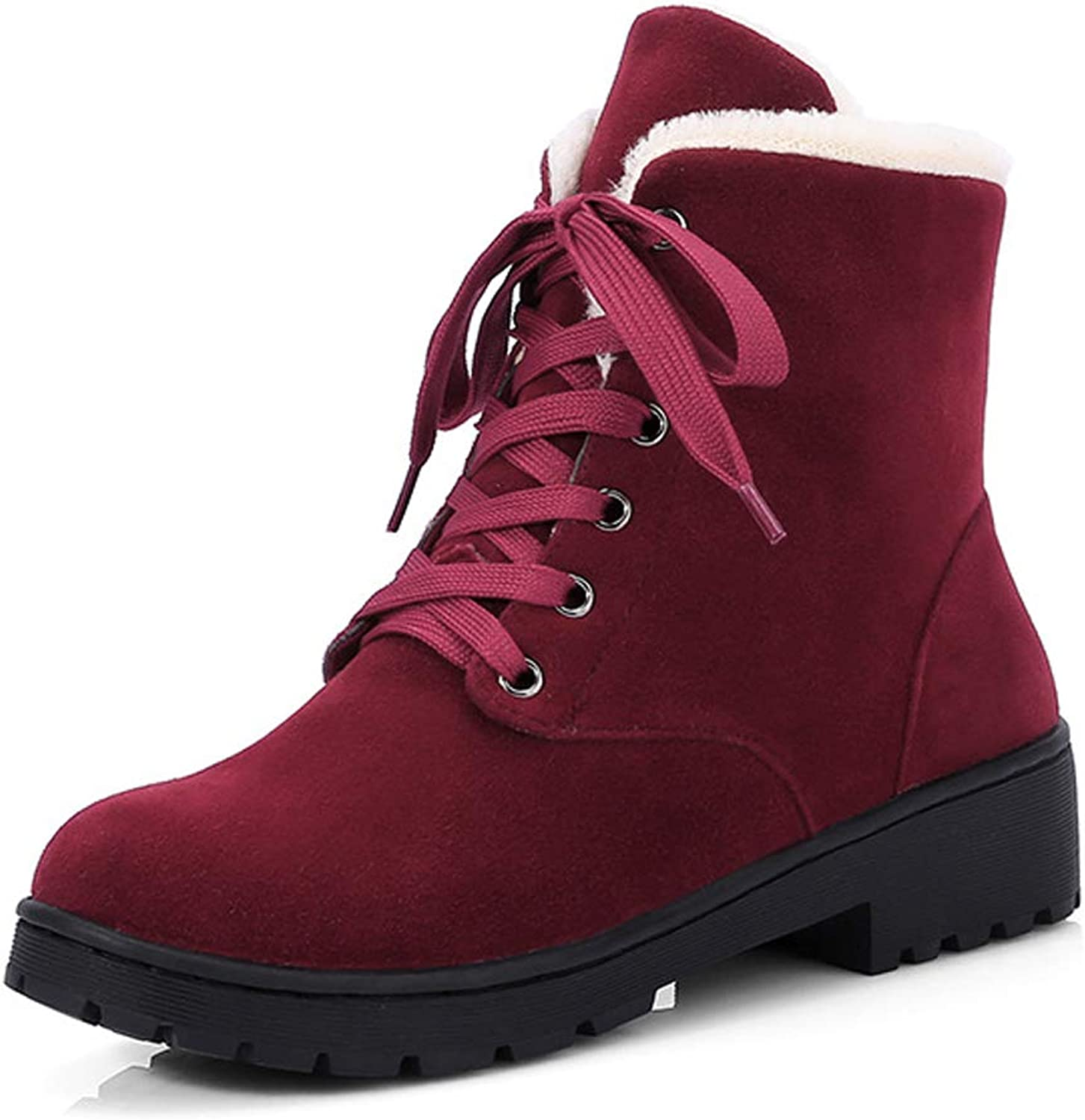 Eclimb Women Classic Warm Fur Lace-Up Winter Ankle Snow Boots