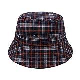 DHDHWL Sombrero de cubo de moda tartán a cuadros de pescador sombrero de cubo para mujer sombrero de sol transpirable (color: azul)
