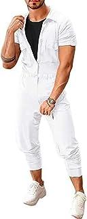 Allthemen Men's Jumpsuits One Piece Short Sleeve Button Casual Romper Suit Cargo Overalls Dungarees