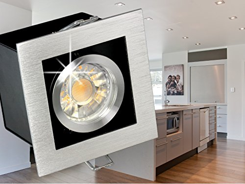 LED Einbau-Strahler K1 schwenkbar, Decken-Leuchte Aluminium gebürstet, 5W LED tageslicht-weiß in schöner Halogenoptik GU10 230V [IHRE VORTEILE: hervorragende LEUCHTKRAFT, LICHTQUALITÄT und VERARBEITUNG]