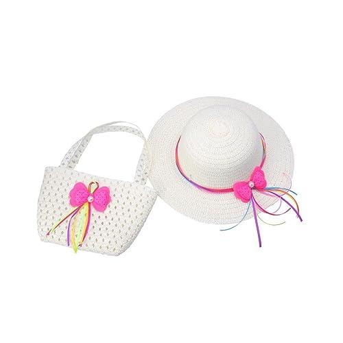Samgu Enfant Enfant Filles Bowknot Paille Chapeau de Soleil avec Sac de  Paille pour 2- 722e38f07a0