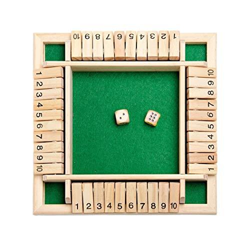 4444 Brettspiele Deluxe 4-Spieler Shut The Box Holz Tisch Spiel Klassisch Würfelspiel Board Spielzeug