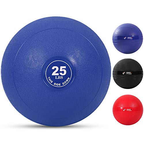 Weighted Slam Ball by Day 1 Fitness – 25 lbs NAVY - No Bounce Medicine Ball - Gym Equipment Accessories for High Intensity Exercise, Functional Strength Training, Cardio, CrossFit, Blue