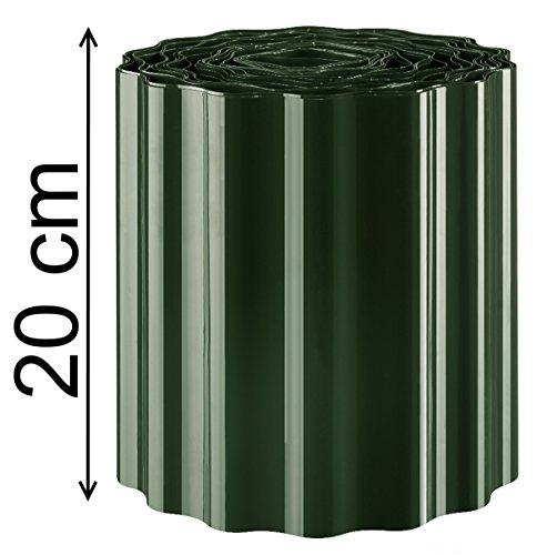 EXCOLO Rasenkante Beeteinfassung Beetumrandung Rasenbegrenzung Raseneinfassung Mähkante Sinuswelle Farbe Grün