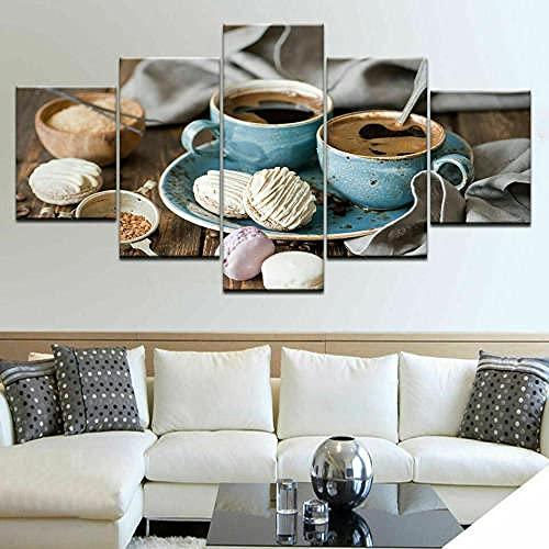 QQWW Cuadro en Lienzo Pastel de macarrones de Taza de café 150x80cm - XXL Impresión Material Tejido no Tejido Artística Imagen Gráfica Decoracion de Pared - 5 Piezas - Listo para Colgar