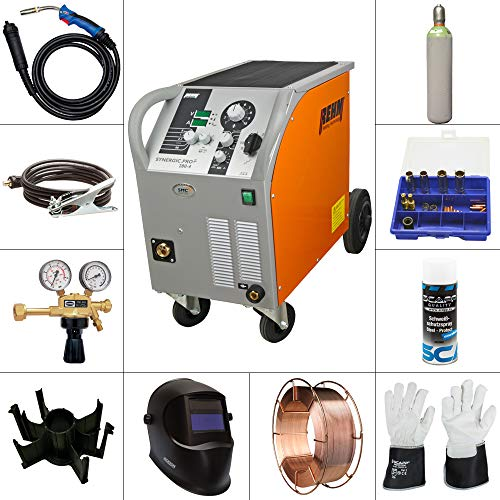 REHM MIG/MAG Schweißgerät SYNERGIC.PRO² 280-4 im SET 3, inkl. SCAPP Massekabel, SCAPP Schweißdraht, SCAPP Schweißerhandschuhe, Gasflasche, usw.