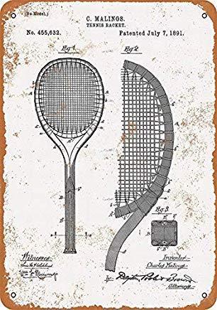 TammieLove - Racchetta da Tennis Vintage, Decorazione da Parete, 20,3 x 30,5 cm