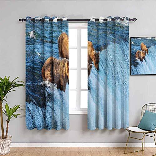 Cortina de armario de decoración de vida silvestre con oso grizzly in the Stream River Fishing Alaska Salmón Salvaje Carnívoro cortina de interior marrón azul W63 x L45 pulgadas