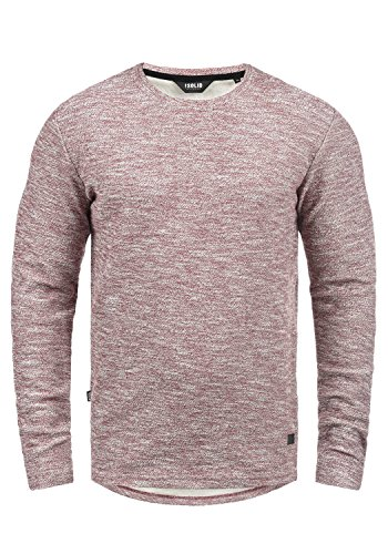 !Solid Gulliver Herren Sweatshirt Pullover Pulli Mit Rundhalsausschnitt Aus 100% Baumwolle, Größe:L, Farbe:Wine Red Melange (8985)