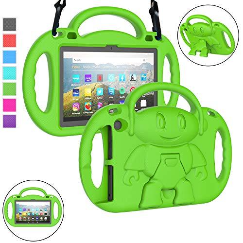 "LTROP All-New Fire HD 8 Tablet Case, Fire HD 8 2020 Case for Kids, Fire HD 8 Plus Case, Shockproof Handle Stand 8"" Kids Case for Fire HD 8 / Fire HD 8 Plus (10th Generation, 2020 Release) - Green"