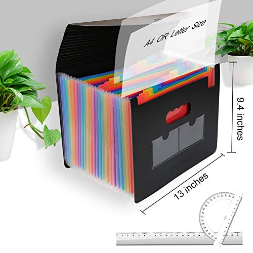 Accordian File Organizer 3 Pack,Expanding Filing Box 24 Pockets with Cover, Expandable Plastic File Folders Accordion Document Organizer A4 Letter Size,Rainbow Desktop Files Folder with 6 Labels Photo #5