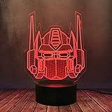 Lámpara 3D óptica Sci-fi película de acción transformadores líderes Optimus Prime ilusión escritorio de mesa LED noche luz 16 colores degradado lava RGB bombillas niños Navidad decoración iluminación