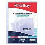 Kathay 86557000. Bolsa de 100 Fundas Perforadas, Tamaño Folio, 16 Taladros, Polipropileno Estándar Liso