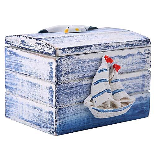 Caja de Almacenamiento mediterránea pequeña de Estilo mediterráneo, joyero de Madera, océano Hermoso para Pendientes, Regalo de Amigos, decoración de Escritorio de Dulces