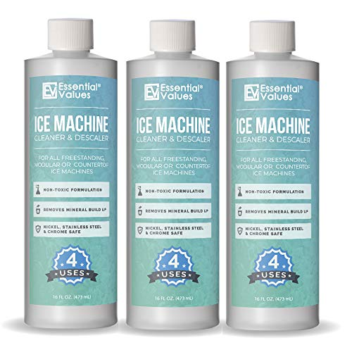 Essential Values Machine De Glace Nettoyant (Pack De 3), Nickel Anticalcaire Détartrant Sécuritaire, L'Application Universelle pour Whirlpool 4396808, Manitowac, Ice-O-Matic, Scotsman
