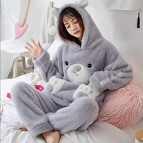 Conjunto Pijama Mujer,Señoras Cálido, Suave Y Elegante Camisones Grises Peludos Tsundere Oso Loose Hooded Lindos Tops Pantalones Ropa De Dormir Acogedora Casual Homewear, M