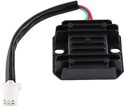 Vobor Motorrad Regler 4 Drähte 4 Pins 12 V Spannungsregler Gleichrichter Für 150 250cc Motorrad Roller Moped Atv Farbe Black Auto