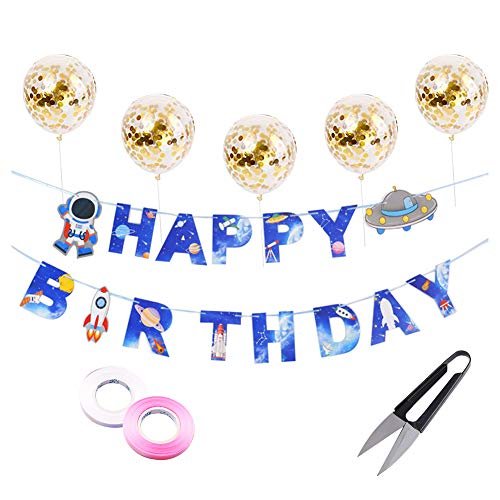 Coomoors Happy Birthday Banner,Astronaut Birthday Symbol,Cartoon Bunting Birthday Party Flag for Decorations.