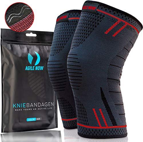 AGILE NOW Kniebandage [2er Set ] [M - XL] Premium inkl. Ultimativer Ratgeber E-Book die Kniebandage Männer Sport & Kniebandage Damen Rot L