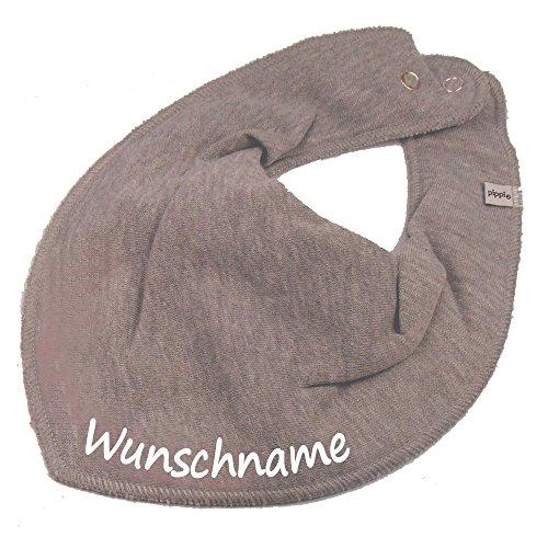 HALSTUCH mit Namen oder Text personalisiert grau für Baby oder Kind