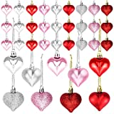 36 Pieces Heart Shaped Ornaments for Valentine's Day Christmas Heart Ornaments for Home Wedding Party Hanging Decoration(3 Colors)