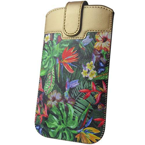Handyschale24 Slim Case für Elephone Trunk Handytasche Dschungel Blumen Design Schutzhülle Tasche Cover Etui mit Magnetverschluss