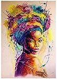 YHJJ Toile Art Africain Noir Femme Graffiti Art Affiches Abstrait Africain Fille Toile Peintures sur Le Mur Art Photos Décoration Murale sans Cadre 23,6'x 35,4' (60x90cm)