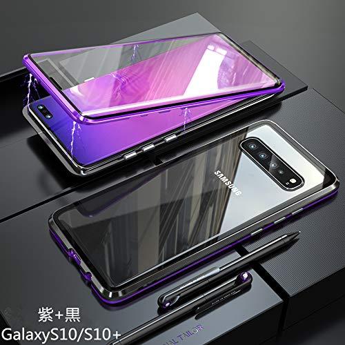 MQman 全面保護 前面+背面ガラスプレート GalaxyS10 SC-03L SCV41 ケース アルミバンパー 360°完全保護 マグネット止め 多点磁石 装着簡単 前後ガラスバックプレート 透明背面 人気オシャレ フルカバー (galaxy S10