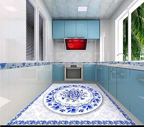 Calcomanías de piso 3d personalizadas murales de piso azules y blancos usan baldosa de vinilo de pvc autoadhesiva antideslizante-400 * 280cm