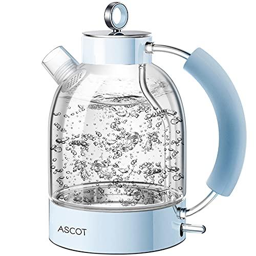 ASCOT Hervidor de agua eléctrico de cristal, acero inoxidable, color azul