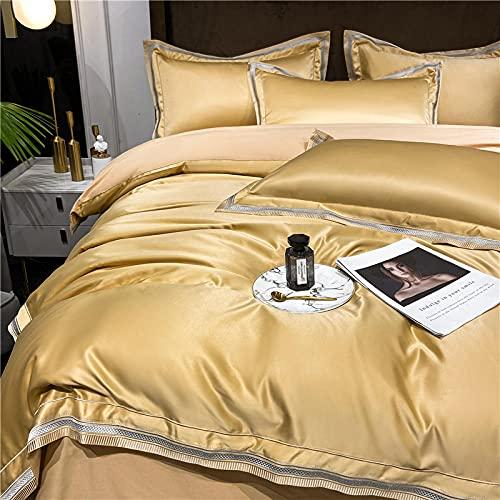 Bedding-LZ Copripiumino Matrimoniale Nero,Summer Ice Seta Four-Piece Fresco Sensazione Leggera Light Luxury Simple Hotel Style Biancheria da Letto-C_2,0 m (4 Pezzi)