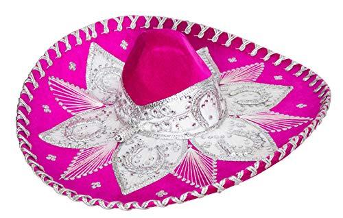 Threads west Premium Adult Mariachi Charro Hat (Pink and White)