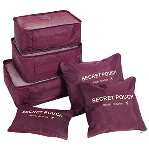 Bolsas de almacenamiento de viaje para equipaje, juego de 6 piezas para ropa, calzado y cosméticos