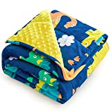 Coolplus Kids 3 Pounds Weighted Blanket 36' x 48', Children Fleece Minky Dots Heavy Blankets with 4 Cartoon Pattern Options Soft Warm Breathable Gift for Toddler Bed Sleeping, Blue Dinosaur